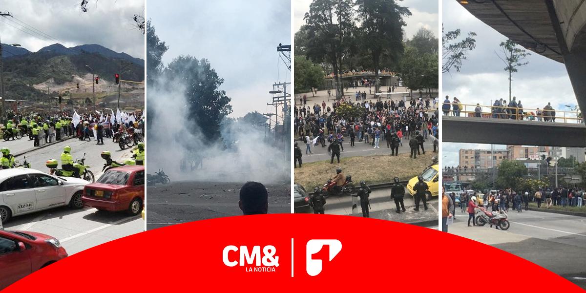 Día de protestas en varios sectores de Bogotá generó caos vehicular
