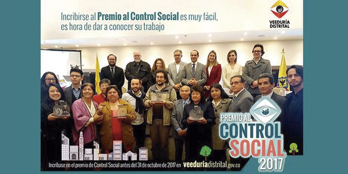 ¡Postúlese en Bogotá al premio 'Control Social 2017'!