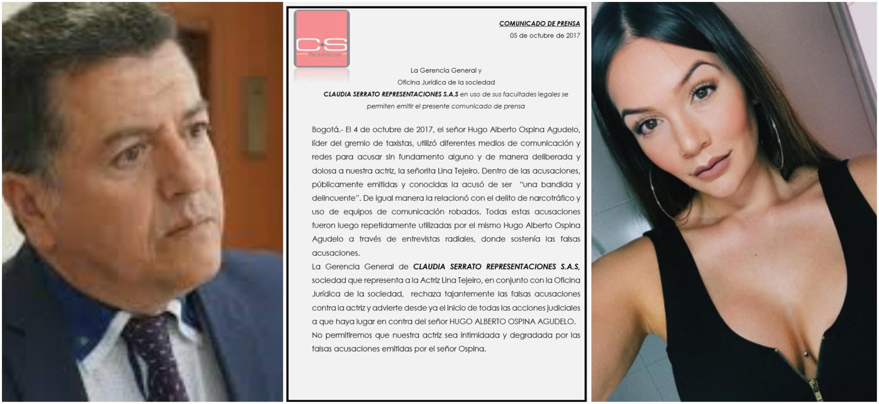 Representantes de Lina Tejeiro tomarán acciones legales contra Hugo Ospina