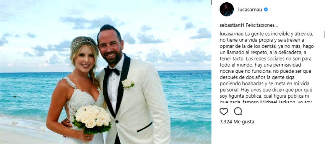 Tras fuertes críticas, Lucas Arnau pide respeto para él y su nueva esposa