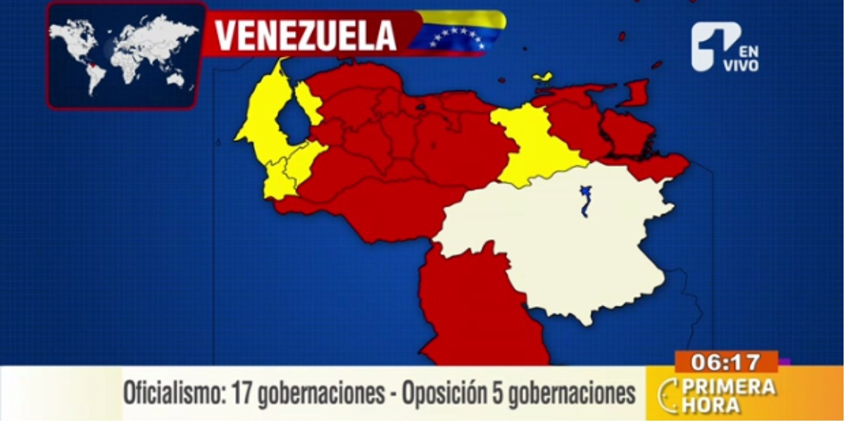 El oficialismo se quedó con más de 20 gobernaciones - Foto: captura de pantalla.