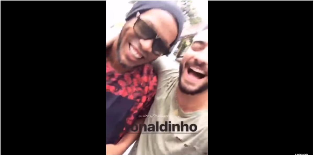 Maluma fue grabado con Ronaldinho - Foto: captura de pantalla.