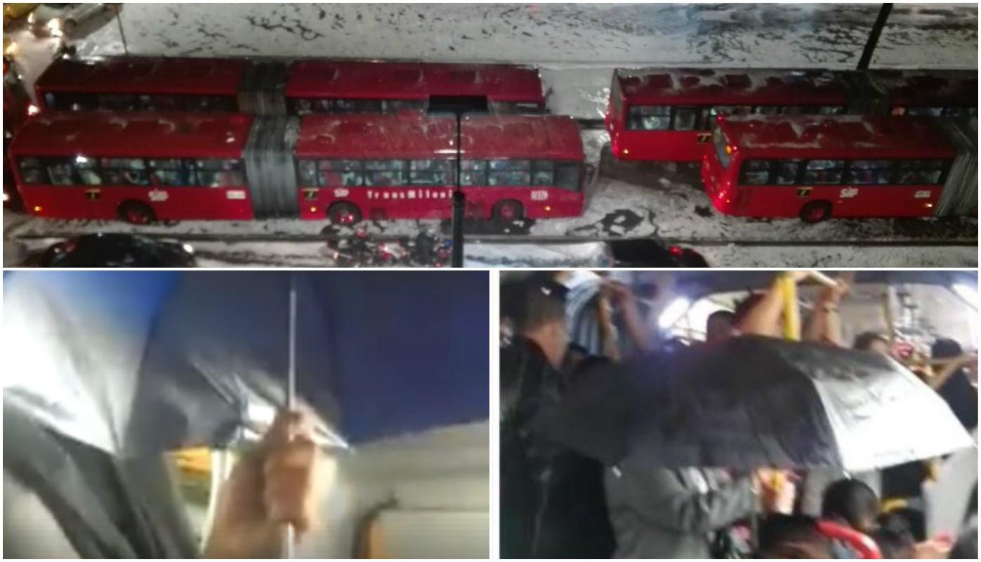 Usuarios de Transmilenio tuvieron que sacar sombrilla en pleno bus