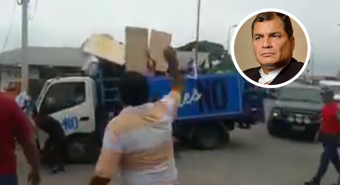 A punta de huevos y tomates atacan a Rafael Correa, expresidente de Ecuador