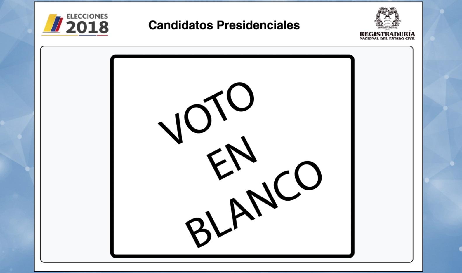 El voto en blanco tendría candidato presidencial