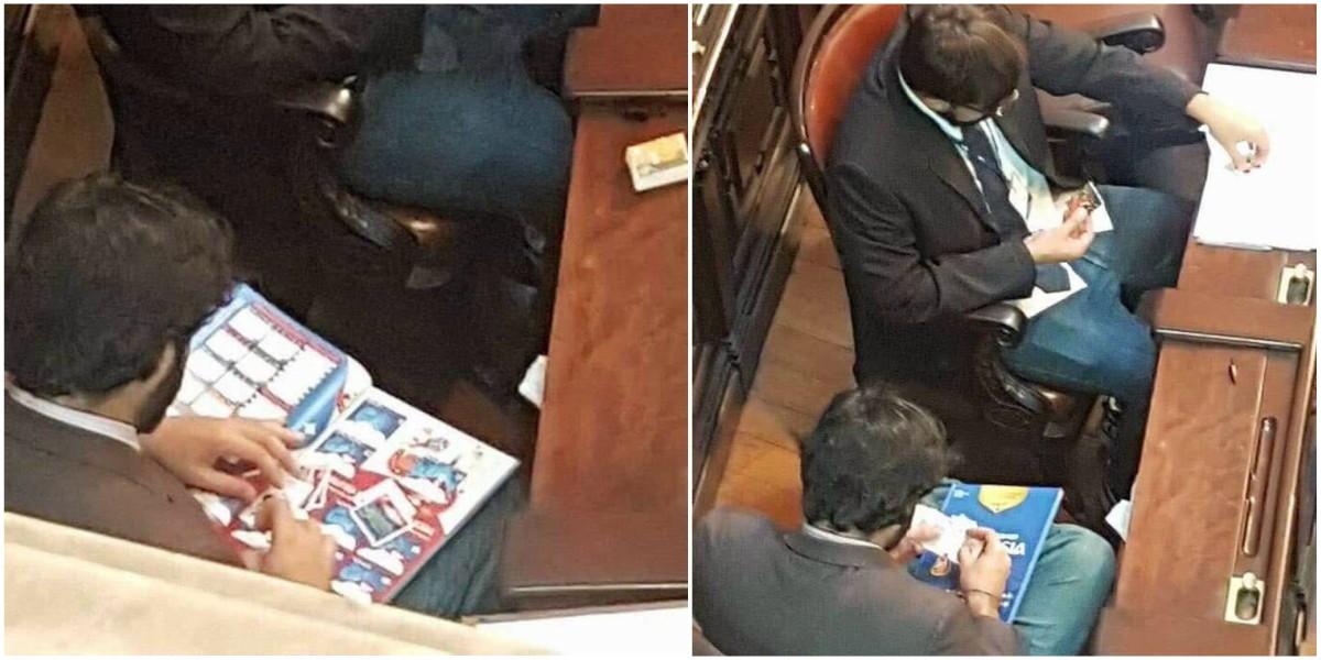 ¡Insólito! Dos políticos cambian láminas del Mundial en plena Asamblea del Congreso