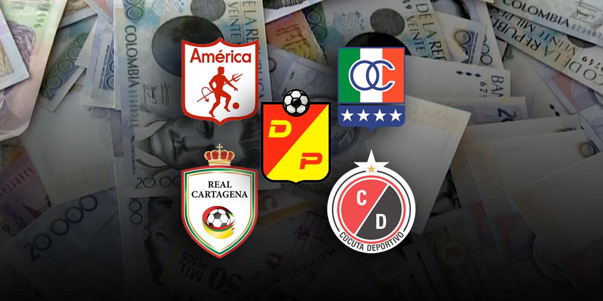 Millonarias pérdidas para cinco equipos del fútbol colombiano en insolvencia