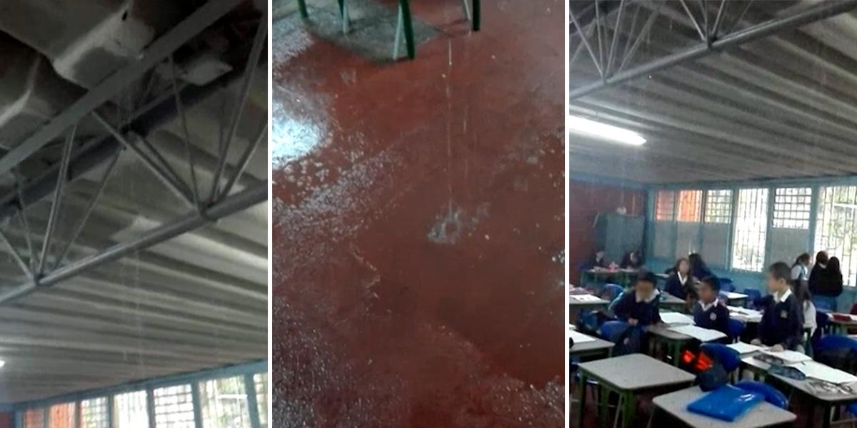 Llueve dentro de los salones del INEM de Kennedy