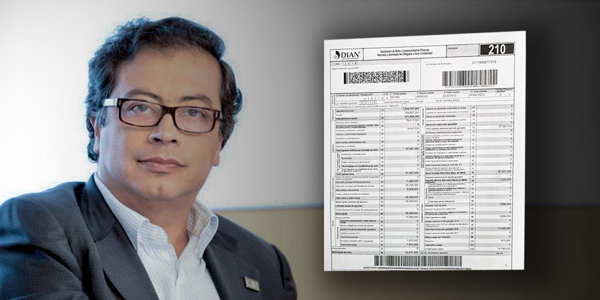 Gustavo Petro revela su declaración de renta
