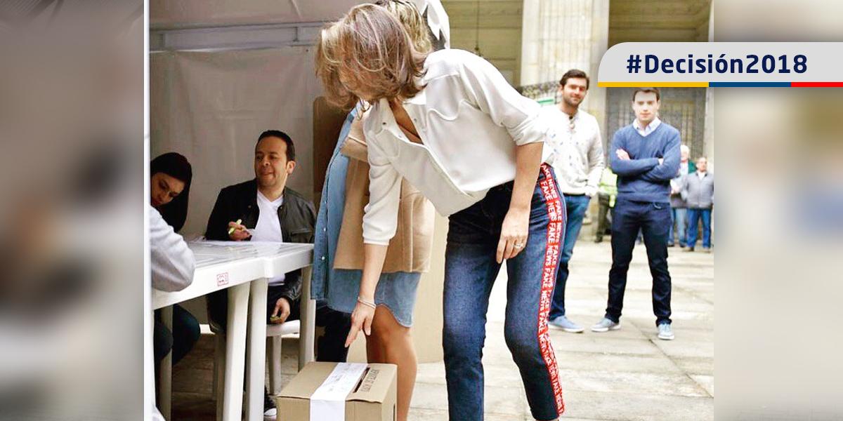 Vea el curioso mensaje impreso en el pantalón, con el que la primera dama votó