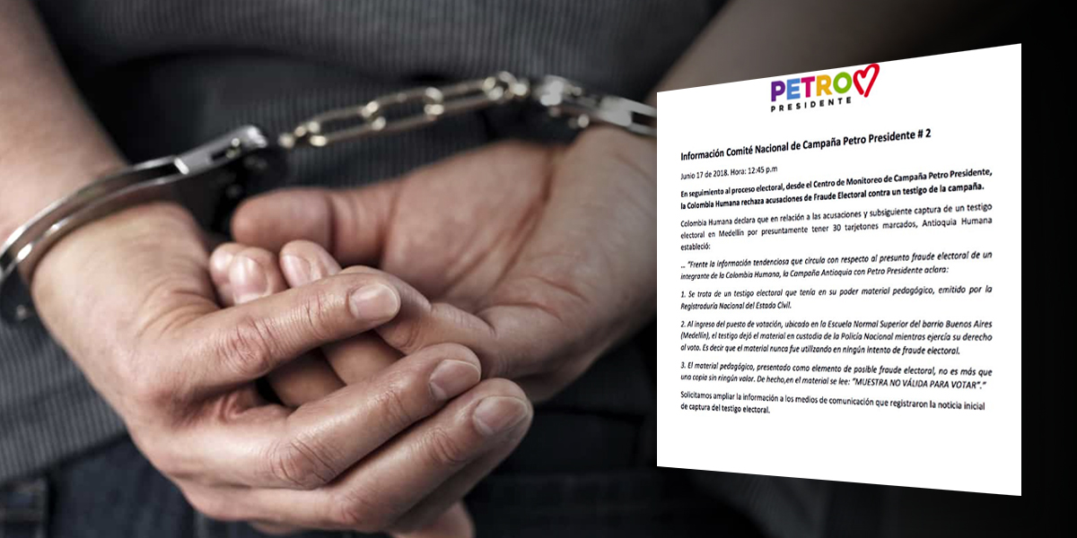Campaña de Petro niega intento de fraude de testigo electoral en Medellín