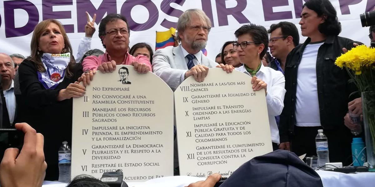Los '12 mandamientos' que firmó Petro, tras adhesión de Mockus y Claudia López