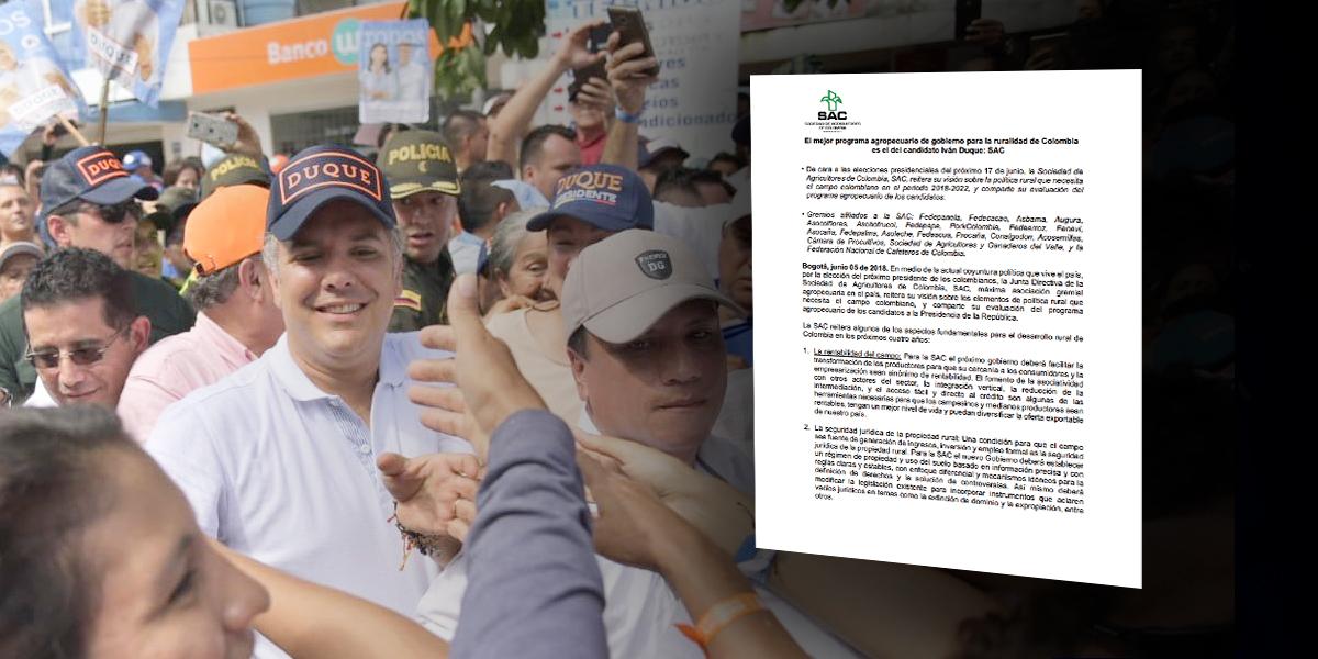 Sociedad de Agricultores anuncia apoyo a candidatura presidencial de Iván Duque