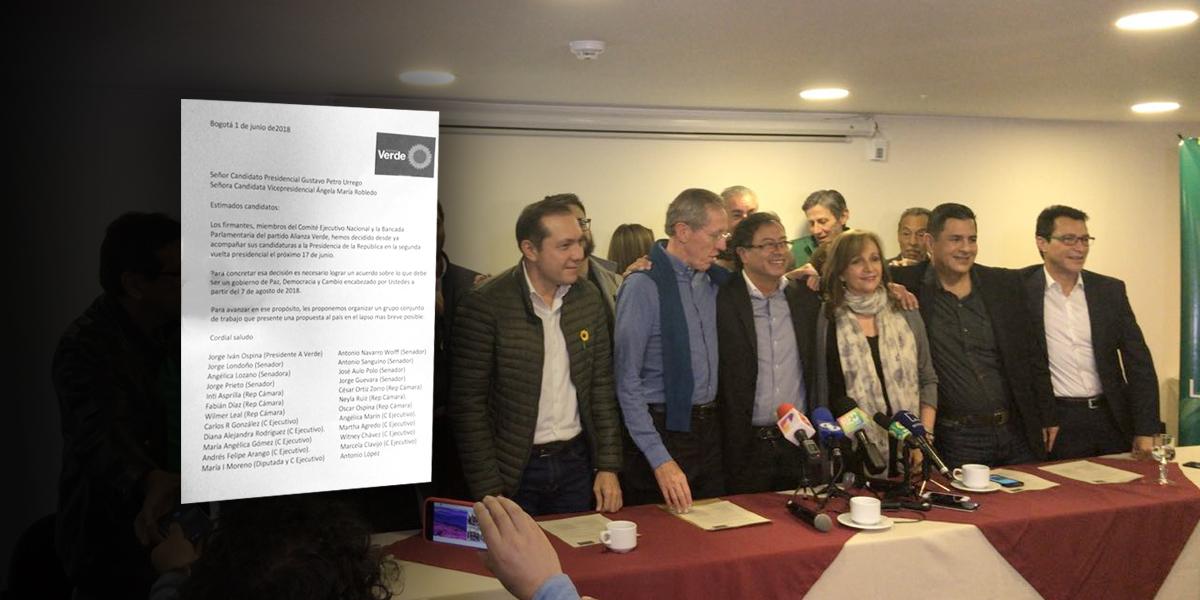 Parlamentarios y dirigentes de Alianza Verde anuncian apoyo a candidatura de Petro