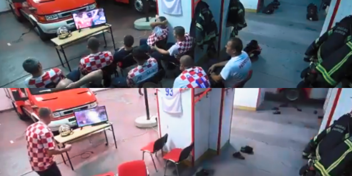 El video de los bomberos croatas viendo el Mundial que se hace viral en redes