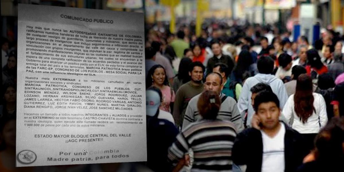 Con panfleto, Autodefensas Gaitanistas amenaza a líderes en Valle