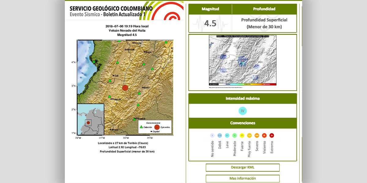 Sismo de 4.5 se sintió en Cauca y departamentos cercanos