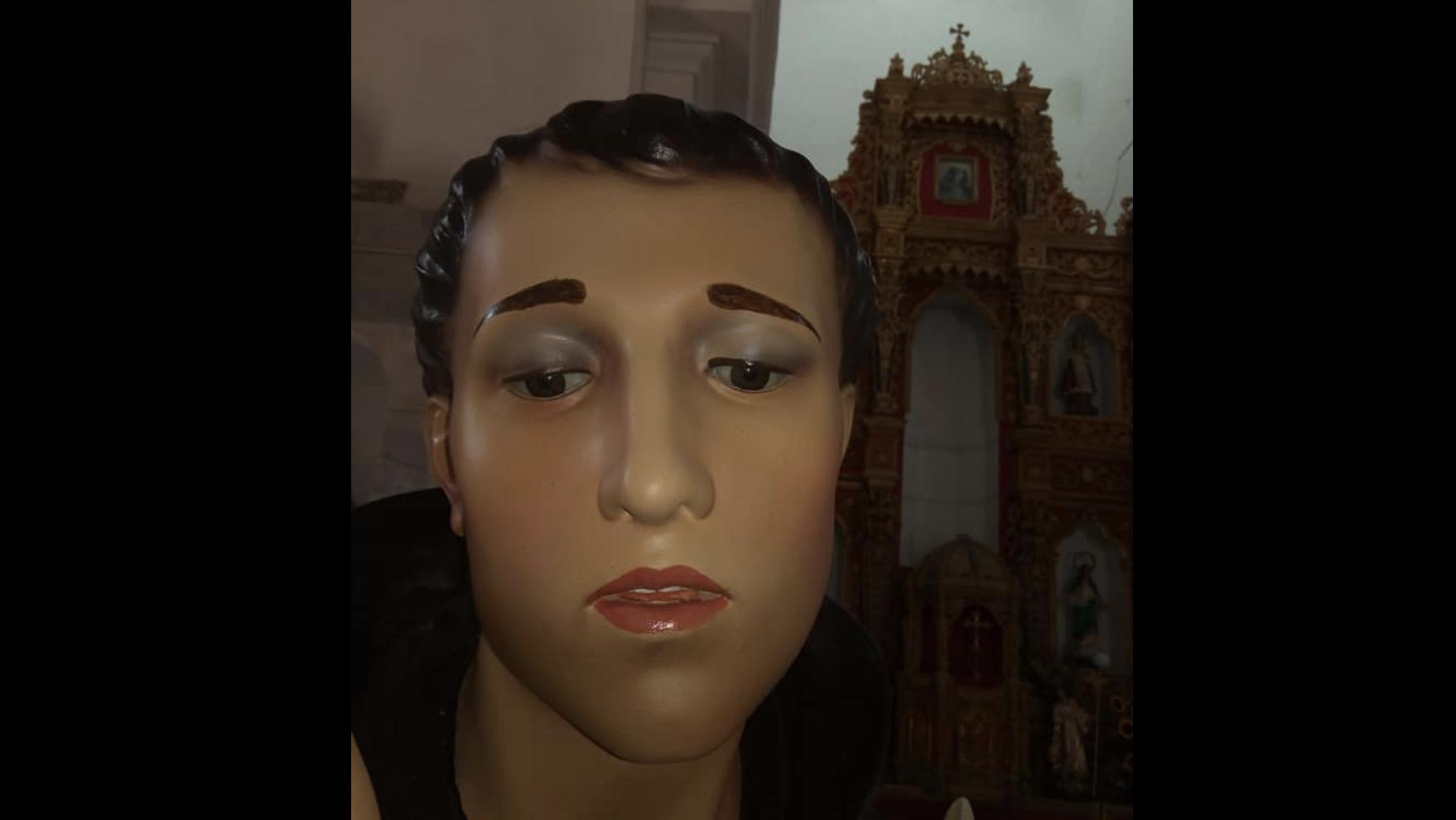 ¿Exceso de maquillaje? Feligreses, indignados por la extraña restauración de un santo