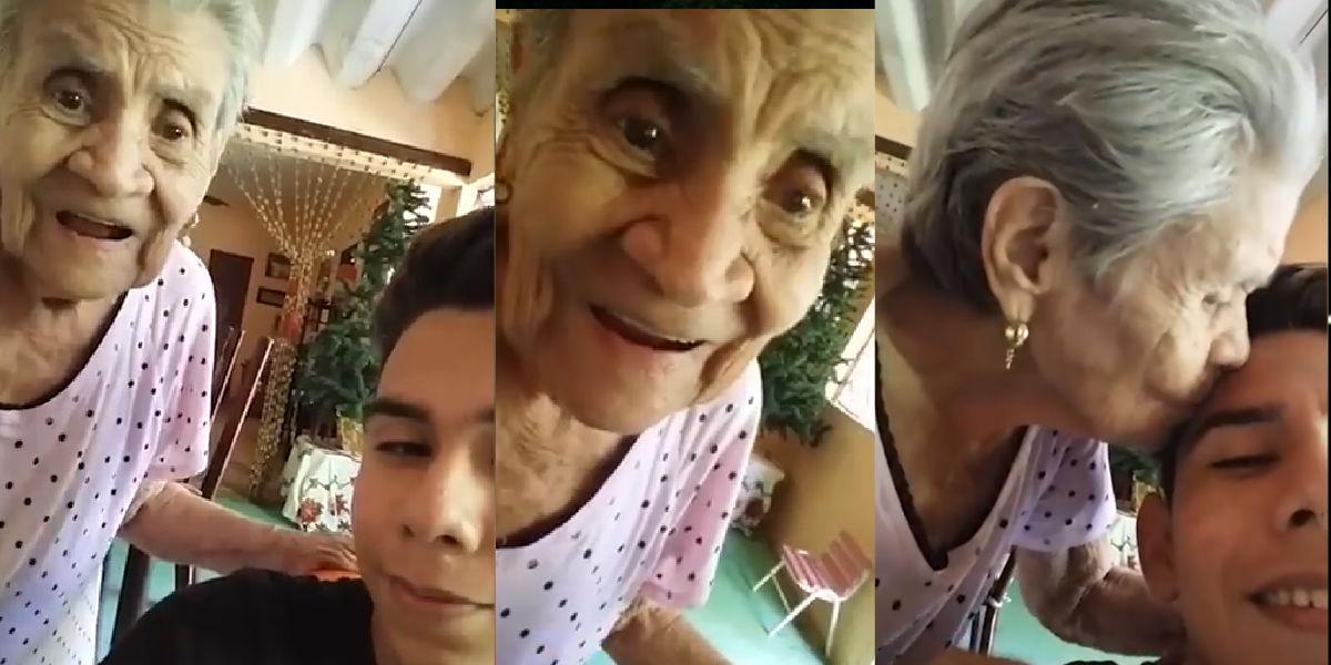 Tierna abuelita se graba por primera vez en un celular y conmueve a millones de personas
