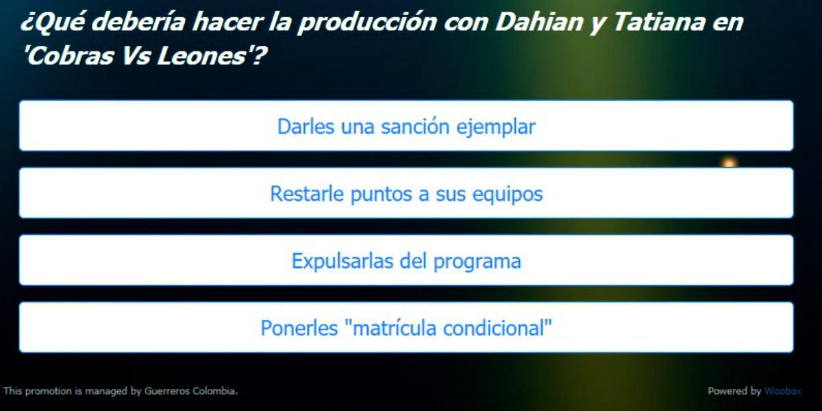 ¿Qué debería hacer la producción con Dahian y Tatiana?