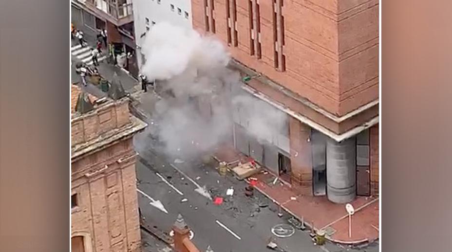 El momento exacto de la explosión en sede de la Fiscalía de Cali
