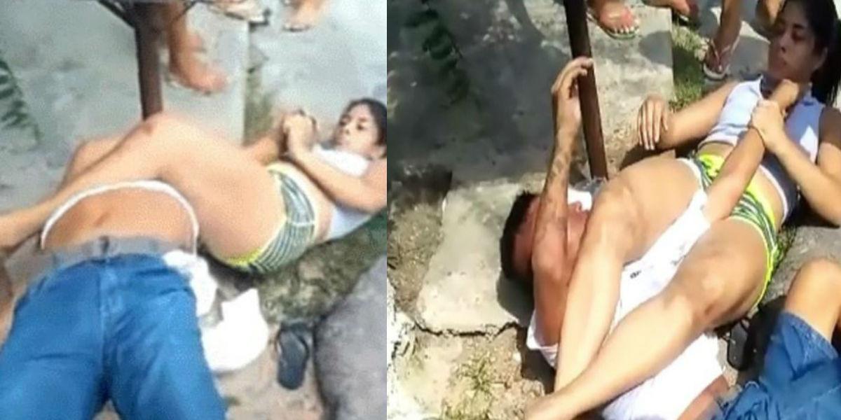 Con una llave jiu-jitsu esta joven dejó llorando al ladrón que la quería robar