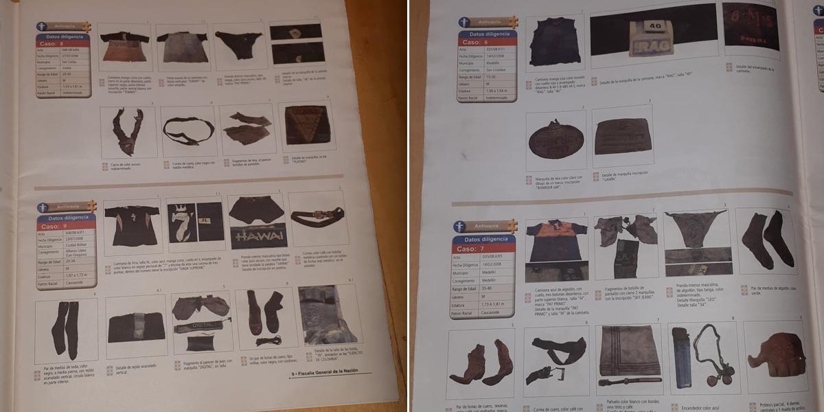 Fiscalía crea revista fotográfica con prendas de cuerpos exhumados para lograr identificación