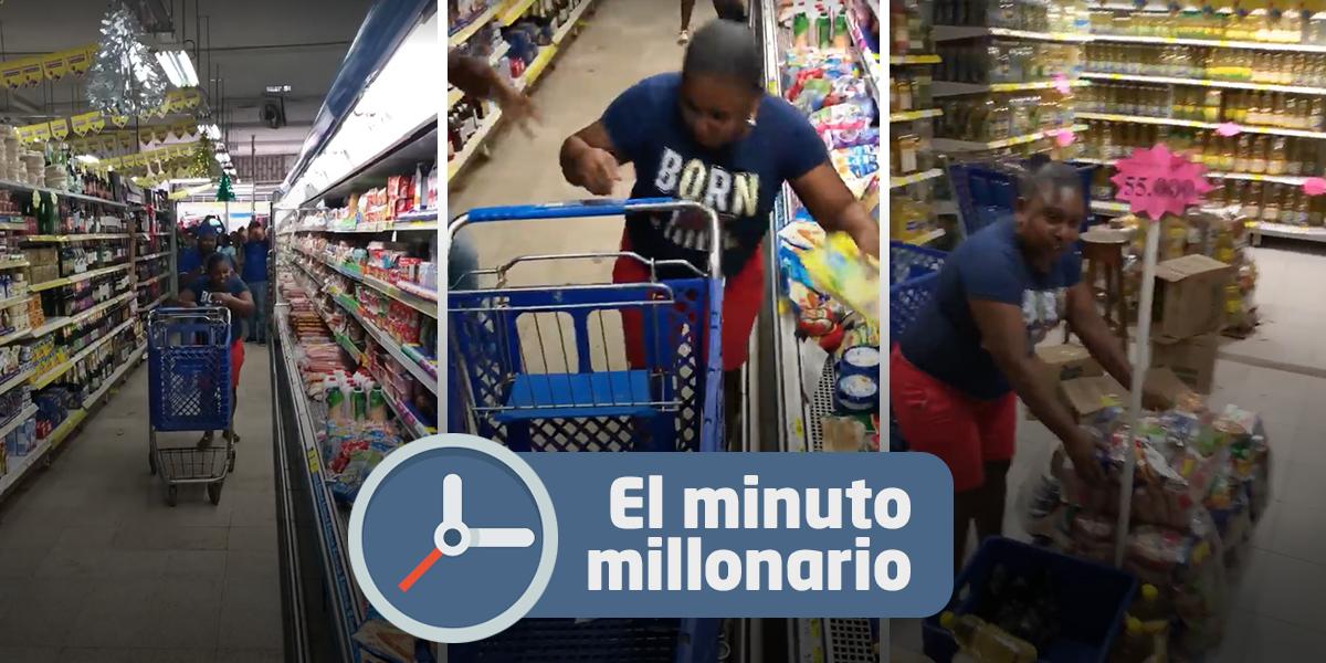 ¡Insólito! Mujer se gana un minuto para mercar gratis y desperdicia la oportunidad