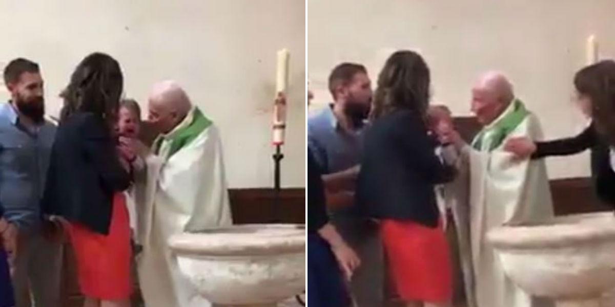 sacerdota golpea a bebe en su bautiza en francia