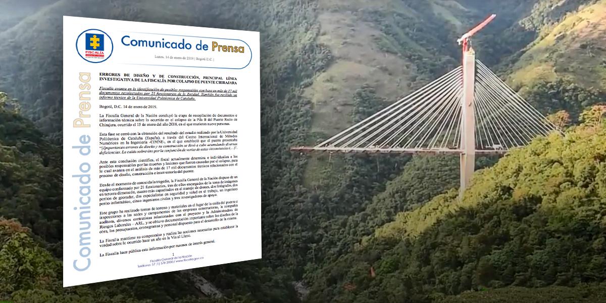 Errores de diseño y construcción, principal línea investigativa en colapso de Puente Chirajara