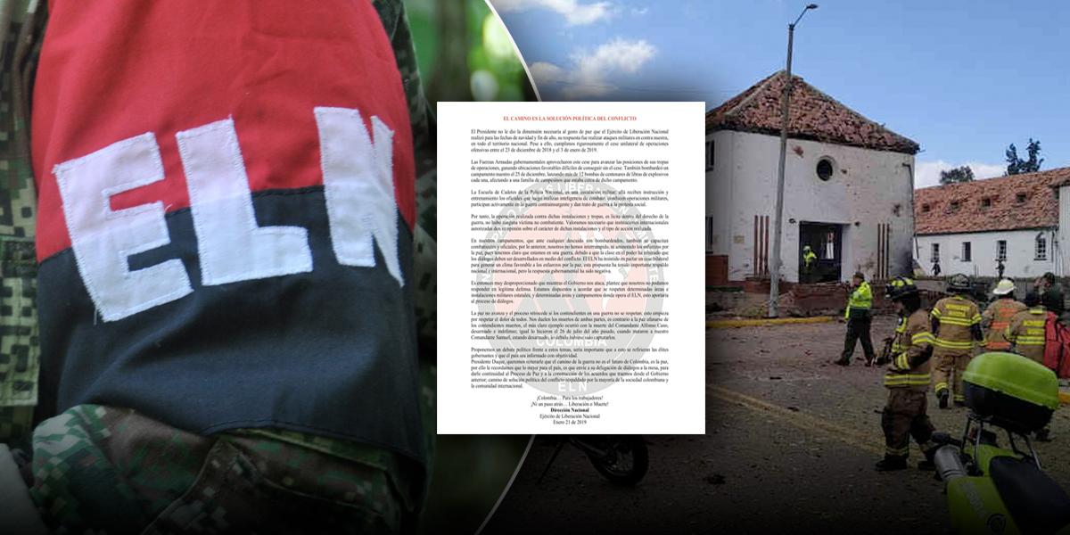 ELN reconoce su autoría en atentado terrorista contra Escuela General Santander