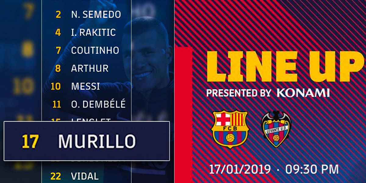 Murillo será titular con el Barcelona para el partido de vuelta de la Copa del Rey ante el Levante