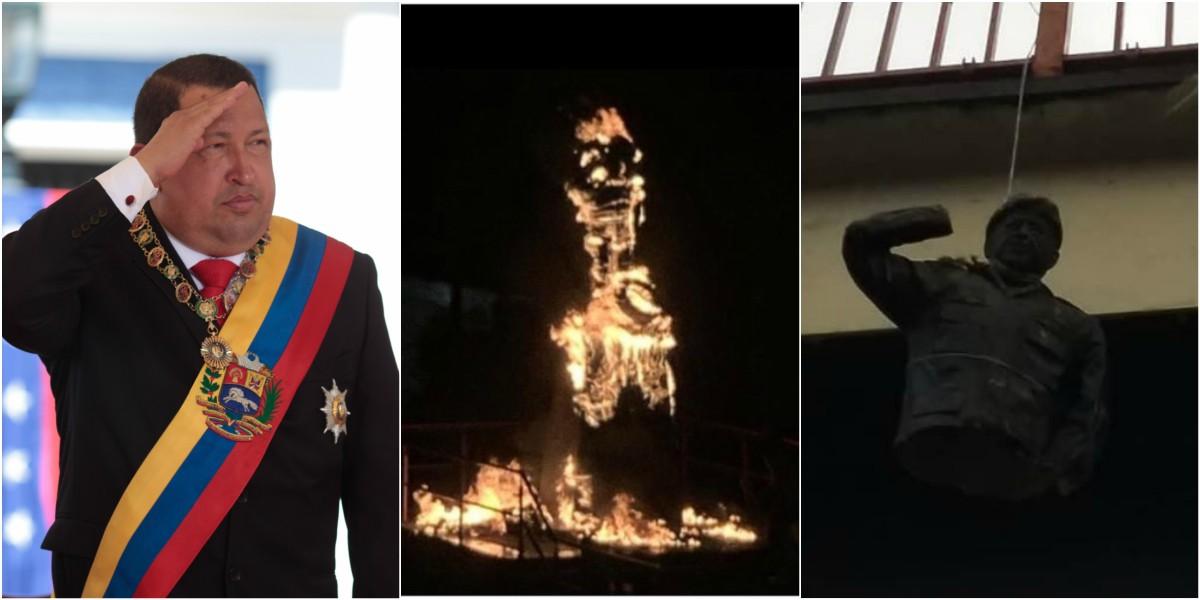 quemaron y derribaron estatua de hugo chavez video