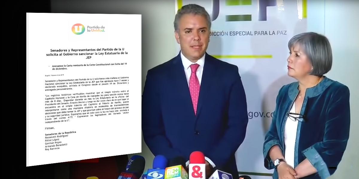 Partido de la U pide a Duque sancionar Ley Estatutaria de la JEP
