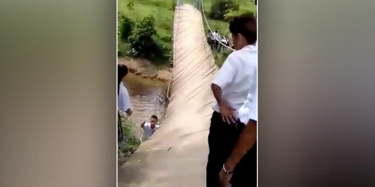 Puente peatonal colapsa cuando niños lo transitaban en Maceo, Antioquia