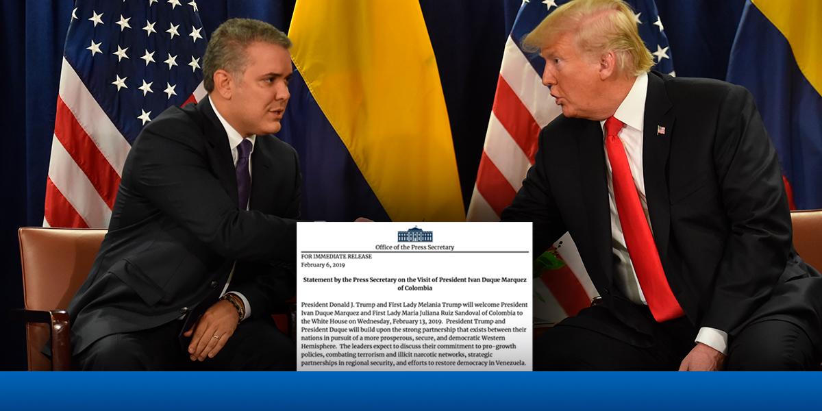 Donald Trump recibirá a Iván Duque el próximo 13 de febrero