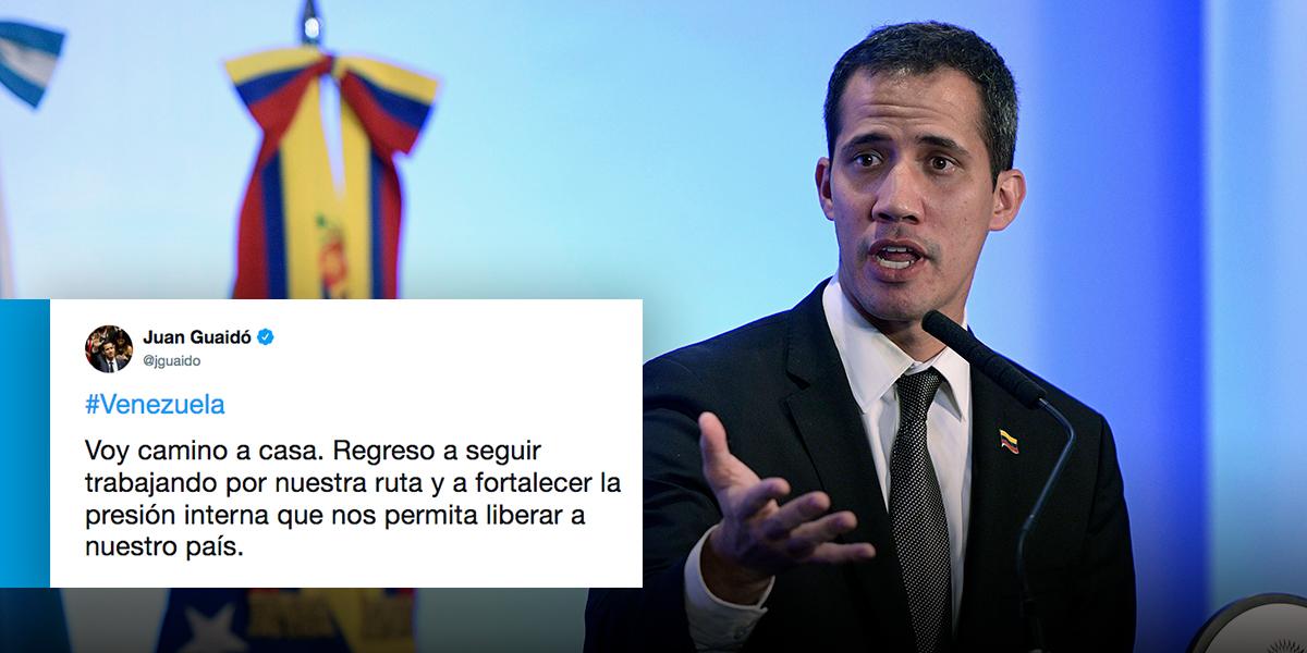Juan Guaidó confirma que ya se encuentra de regreso a Venezuela