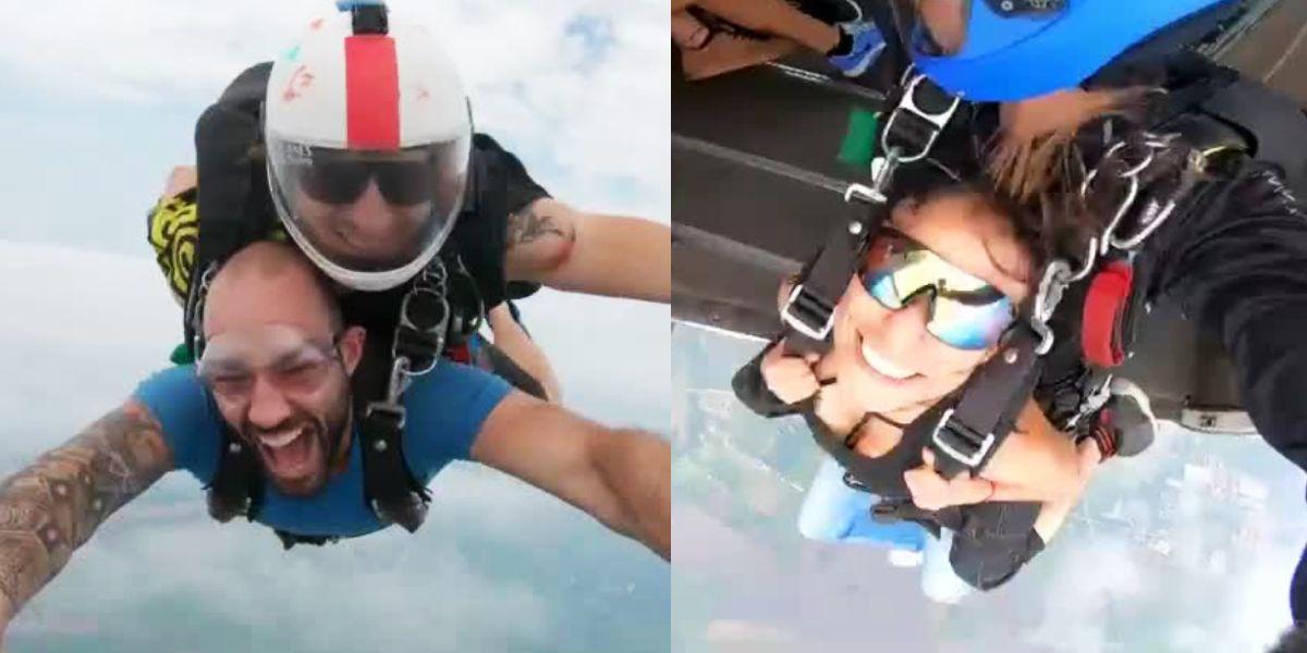 El salto en paracaídas de Leo Morán y Alexandra Santos