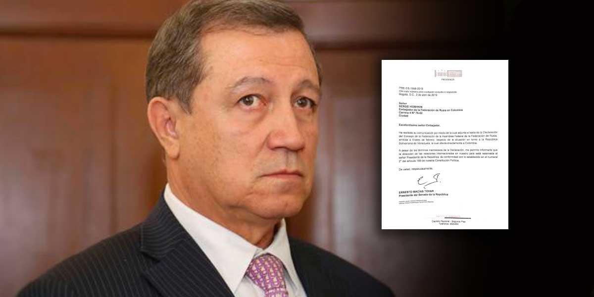 Presidente del Congreso Ernesto Macías, responde a Gobierno ruso