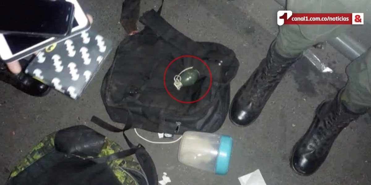 Capturan a un joven con una granada en TransMilenio