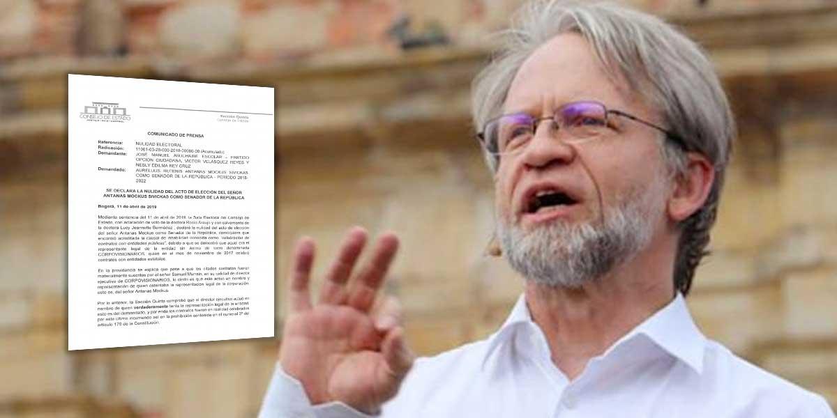 Consejo de Estado tumba elección de Antanas Mockus como congresista