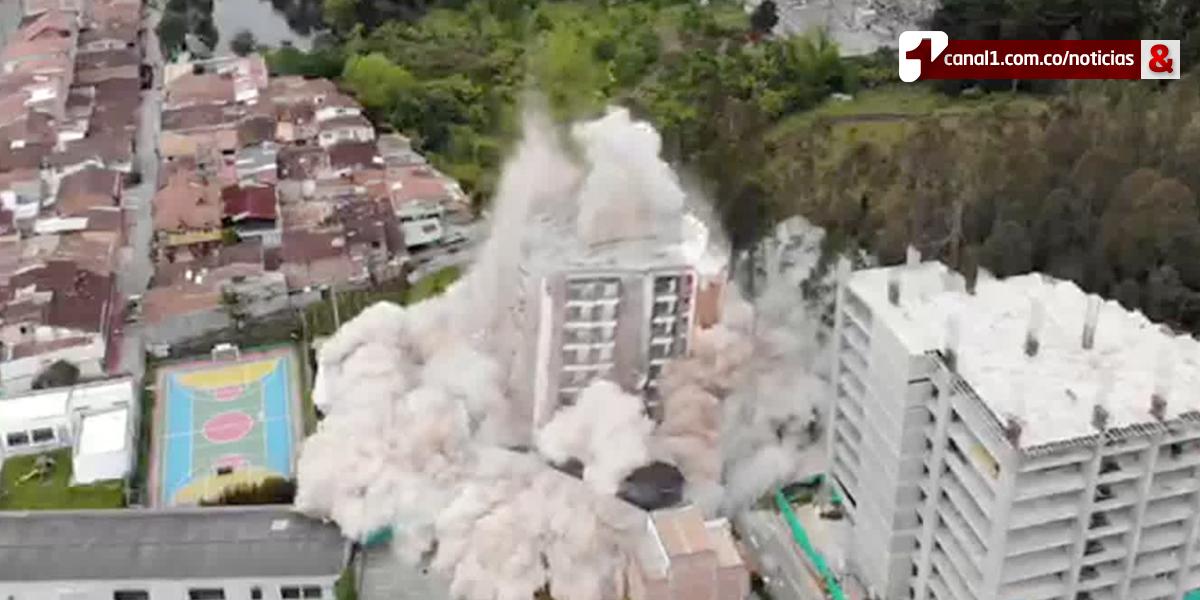 Así se llevó a cabo la implosión del edificio Altos del Lago en Rionegro, Antioquia