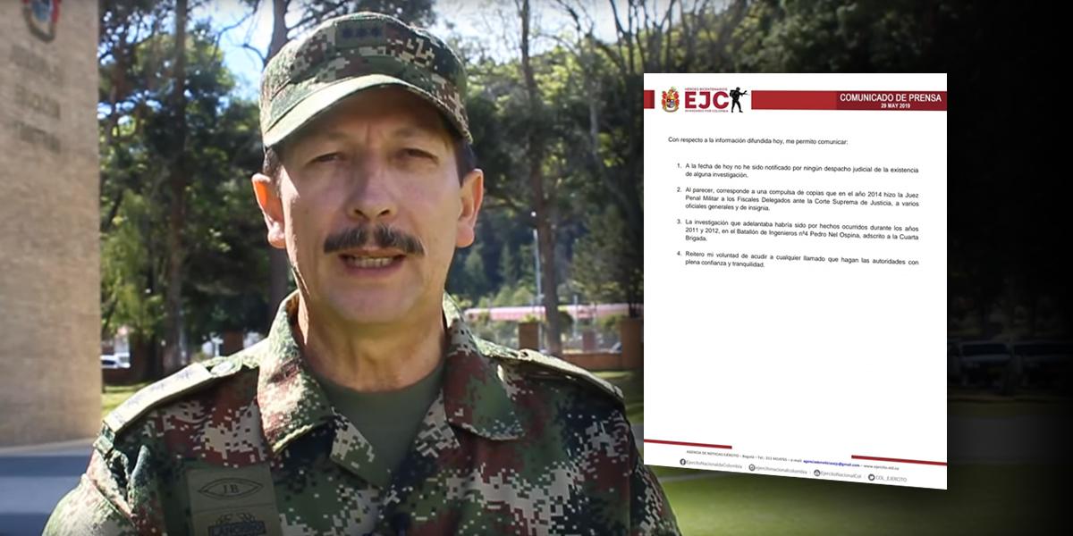 General Martínez: 'no he sido notificado por ningún despacho judicial sobre investigaciones'