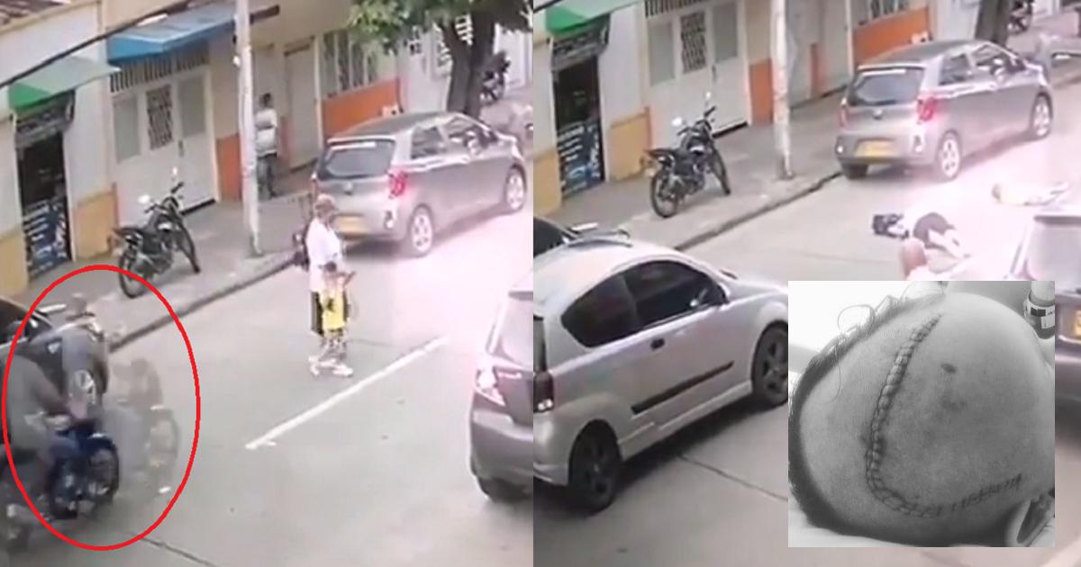 Con este video, buscan a motociclista que atropelló a abuela y niño y se fugó