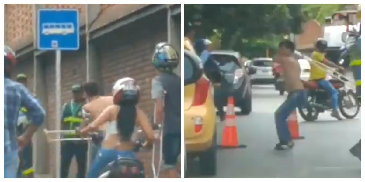 (VIDEO) Con una muleta, motociclista y agentes de tránsito se fueron a los golpes