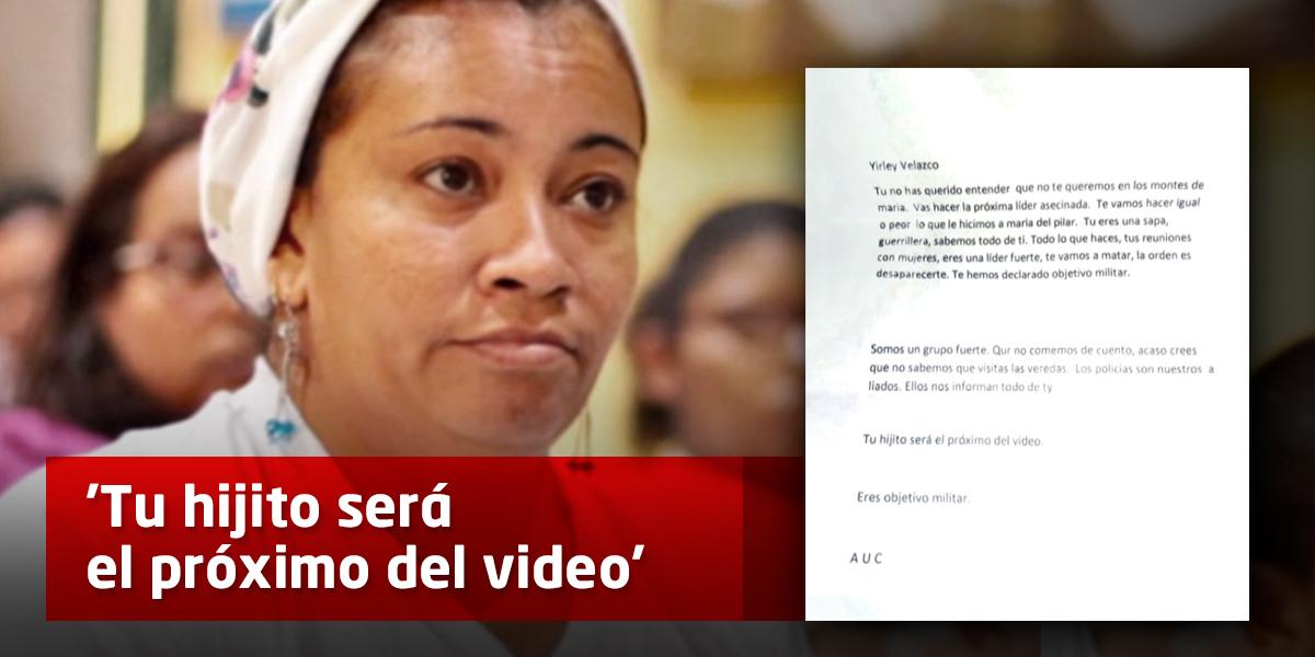 'Te vamos a hacer igual o peor que a María del Pilar', otra líder social amenazada