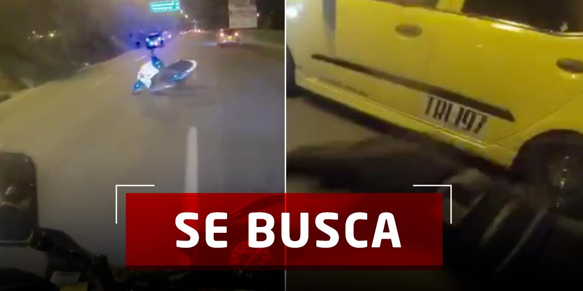 Así fue la huida de un taxi que arrolló a una motociclista en Medellín