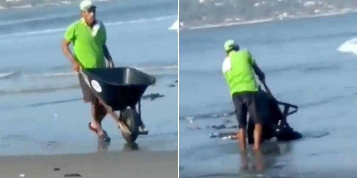 Apareció el hombre que fue pillado arrojando carretillada de basura en playa colombiana