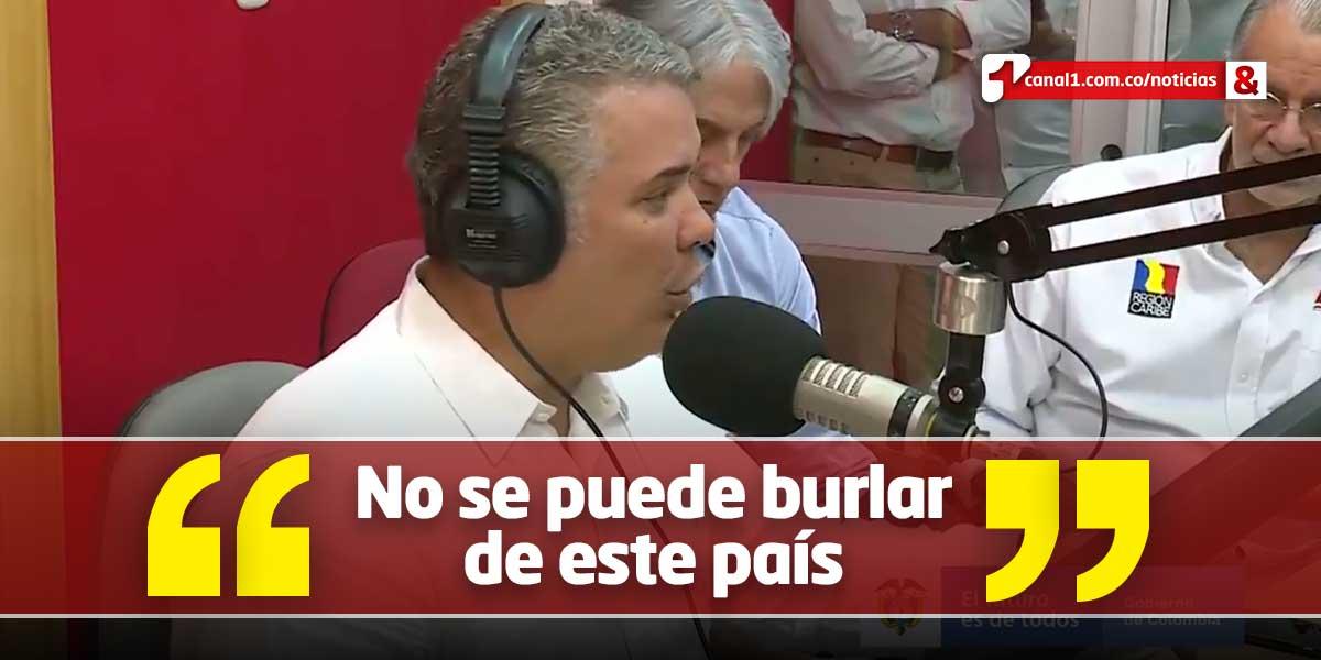 'País que dé protección a Santrich, lo vamos a denunciar internacionalmente': presidente Duque
