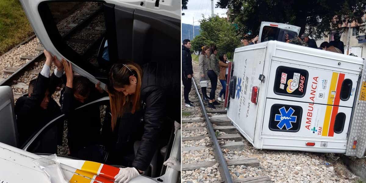 Ambulancia se volcó y fue a dar a las vías del tren en el norte de Bogotá
